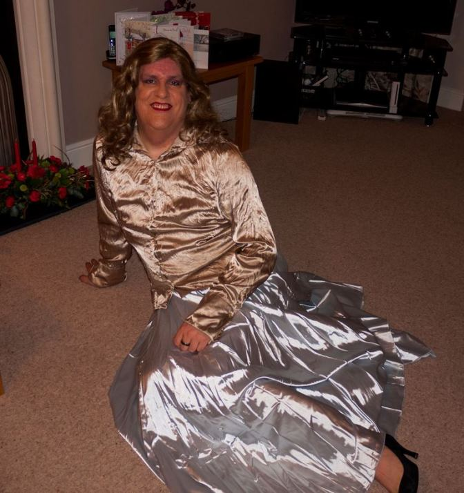 New silver satin skirt